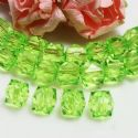 Beads, Imitation Crystal beads, Acrylic, green, Faceted Cubes, 10mm x 10mm x 10mm, 18g, 40 Beads, (SLZ0541)
